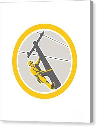 Workers Canvas Print - Power Lineman Repairman Climbing Pole Circle by Aloysius Patrimonio