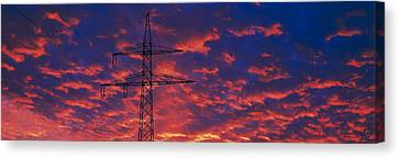 Power Lines At Sunset Germany Canvas Print