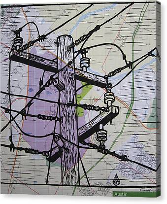 Power Lines On Map Canvas Print by William Cauthern