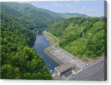 Power Plant And River Canvas Print by Susan Leggett