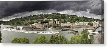 Power Plant At Willamette Falls Lock Canvas Print