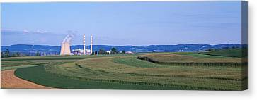 Contour Farming Canvas Print - Power Plant Energy by Panoramic Images