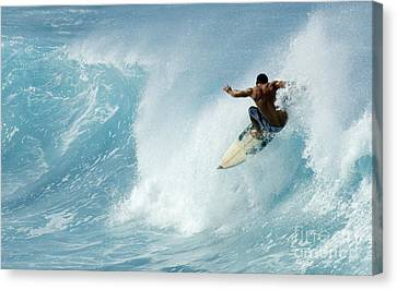 Surfing Power Struggle Canvas Print by Bob Christopher