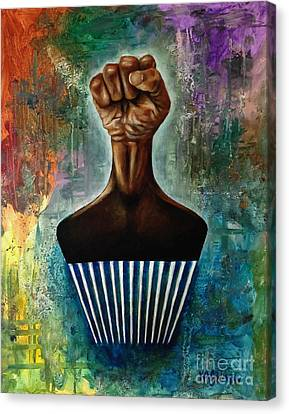 Power To The Afro Pick Canvas Print by Ka-Son Reeves