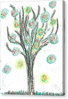 Canvas Print featuring the drawing Power Tree by Jill Lenzmeier