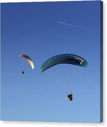 Canvas Print featuring the photograph Powered Parachute by John Swartz