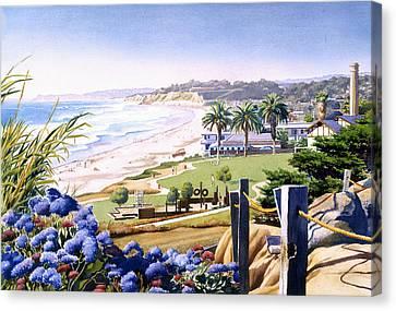 Powerhouse Beach Del Mar Blue Canvas Print by Mary Helmreich