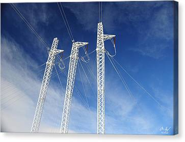 Powerlines On The Mountain Canvas Print by Aaron Spong