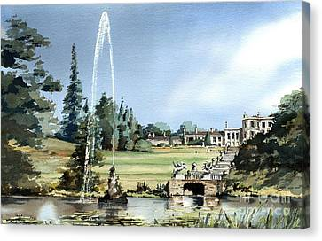 Historic House Canvas Print -  Powerscourt House, Enniskerry,  Co. Wicklow by Val Byrne