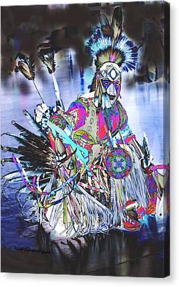 Powwow Dancer In Warrior Regalia Canvas Print by Kae Cheatham