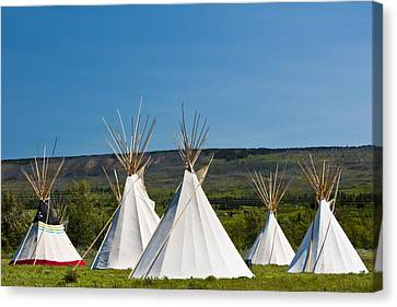 Powwow Teepees Of The Blackfoot Tribe By Glacier National Park No. 3095 Canvas Print by Randall Nyhof