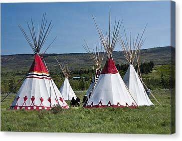 Powwow Teepees Of The Blackfoot Tribe By Glacier National Park No. 3100 Canvas Print by Randall Nyhof