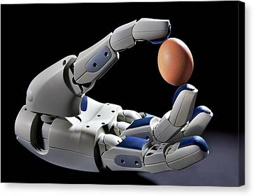 Pr2 Robot Hand Holding An Egg Canvas Print by Patrick Landmann