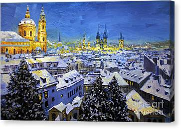 Prague After Snow Fall Canvas Print
