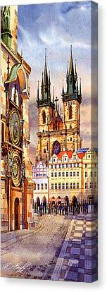Prague Afternoon Astronomic Clock And Church Canvas Print by Dmitry Koptevskiy