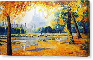 Prague Autumn In The Kralovska Zahrada Canvas Print by Yuriy Shevchuk