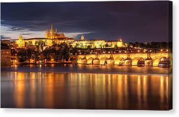 Prague Castle And Charles Bridge Canvas Print by Nico Trinkhaus