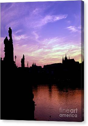 Prague Castle And The Vitava River Canvas Print by Rafael Macia