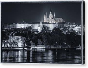 Prague Castle At Night Canvas Print by Joan Carroll