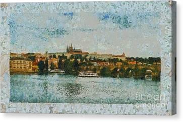 Prague Castle Over The River Canvas Print by Dana Hermanova