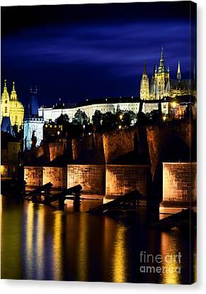 Prague Castle, Vltava River, Prague Canvas Print by Rafael Macia