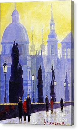 Prague Charles Bridge 03 Canvas Print by Yuriy  Shevchuk