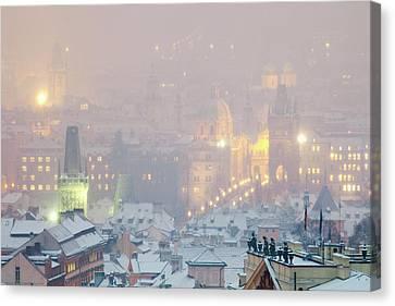 Prague - Charles Bridge And Spires Canvas Print by Panoramic Images