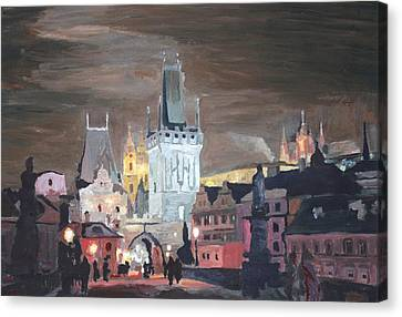 Prague Charles Bridge - Karluv Most Canvas Print by M Bleichner