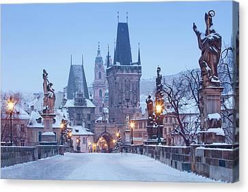 Prague - Charles Bridge Tower Nad St Canvas Print by Panoramic Images