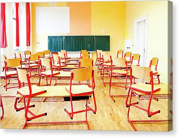 Prague - Empty Classroom At State Canvas Print by Panoramic Images