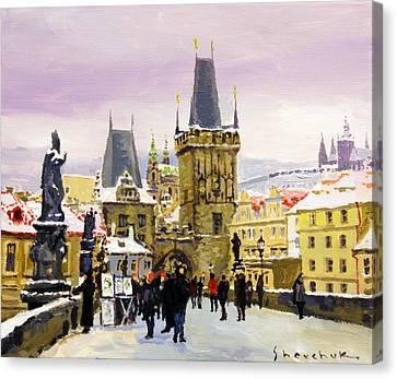 Prague Gharles Bridge Winter Canvas Print by Yuriy Shevchuk