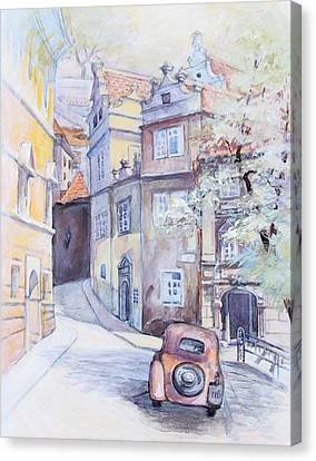 Canvas Print featuring the painting Prague Golden Well Lane by Marina Gnetetsky