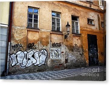 Prague Graffiti Scene Canvas Print by John Rizzuto