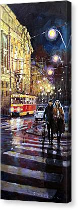 Prague Masarykovo Nabrezi Evening Walk Canvas Print by Yuriy Shevchuk