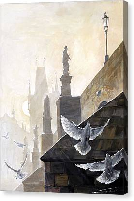 Dove Canvas Print - Prague Morning On The Charles Bridge  by Yuriy Shevchuk