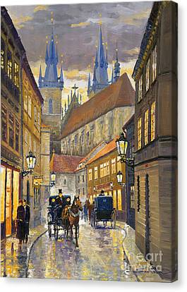 Street Lights Canvas Print - Prague Old Street Stupartska by Yuriy Shevchuk