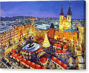 Czech Republic Canvas Print - Prague Old Town Square Christmas Market 2014 by Yuriy Shevchuk