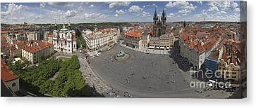 Prague Old Town Square Panorama Canvas Print by Bart De Rijk