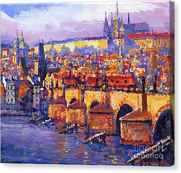 Prague Panorama Charles Bridge 06 Canvas Print by Yuriy Shevchuk