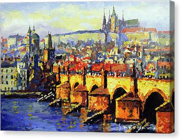 Prague Panorama Charles Bridge Canvas Print by Yuriy Shevchuk