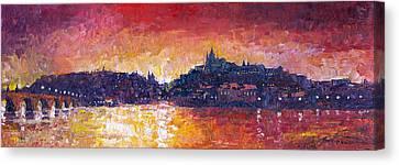 Vltava Canvas Print - Prague Red Panorama by Yuriy Shevchuk