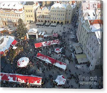 Canvas Print featuring the photograph Prague Shoppers by Deborah Smolinske