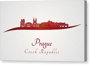 Prague Skyline In Red Canvas Print