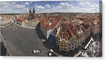 Prague Staromeststke Namesti  Old Town Square With Terraces Canvas Print by Bart De Rijk
