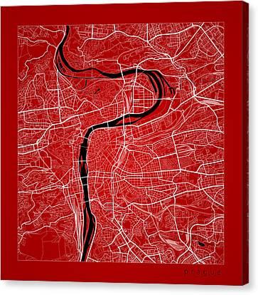 Prague Street Map - Prague Czech Republic Road Map Art On Color Canvas Print