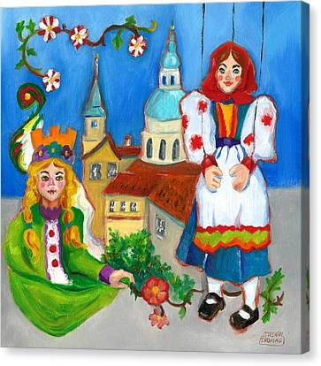 Canvas Print featuring the painting Prague by Susan Thomas