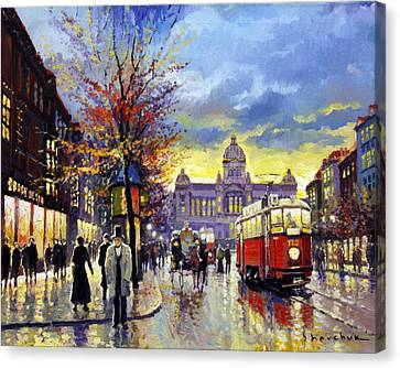 Prague Vaclav Square Old Tram Imitation By Cortez Canvas Print by Yuriy  Shevchuk