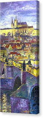 Prague Violet Panorama Night Light Charles Bridge Canvas Print by Yuriy Shevchuk
