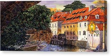 Prague Water Mill Canvas Print