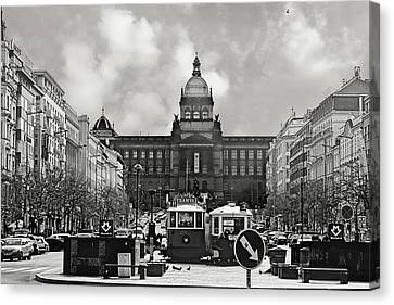 Communism Canvas Print - Prague Wenceslas Square And National Museum by Christine Till